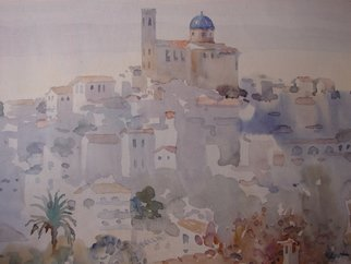 Valery Reut; Altea,Spain, 2009, Original Watercolor, 60 x 40 cm. Artwork description: 241  Buildings, chirch, old city, south.  ...