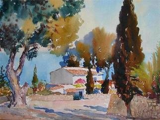 Valery Reut; Casita Blanca Cerca Del Mar, 2009, Original Watercolor, 60 x 43 cm. Artwork description: 241  House on the seaside and trees in summer time. ...