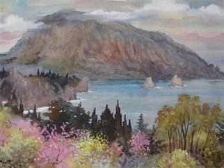 Valery Reut; Gurzuf,Crimea, 2005, Original Watercolor, 61 x 43 cm. Artwork description: 241  Seaside, mountains, nature.  ...