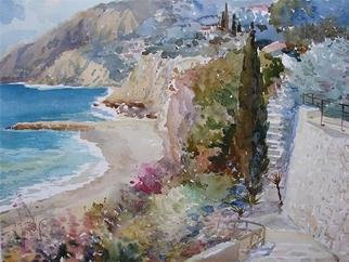 Valery Reut; Seaside, 2009, Original Watercolor, 60 x 50 cm. Artwork description: 241  Seaside, nature. ...