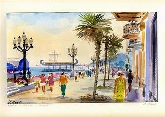 Valery Reut; Yalta,Crimea, 2009, Original Watercolor, 60 x 37 cm. Artwork description: 241  Embankment of the sea in summer time. ...