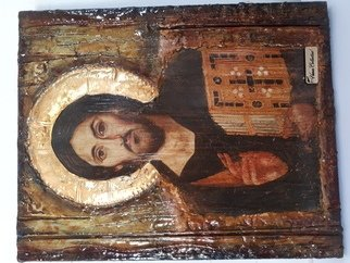 Evangelia Roumpani; Jesus Christ Pantocrator Sina, 2020, Original Printmaking Other, 60 x 90 cm. Artwork description: 241 Wood Aging Technique and Decoupage. The materials are Wood, Golden Sheet, Water Lacquer, Antiqua Patina, Bee Wax. ...