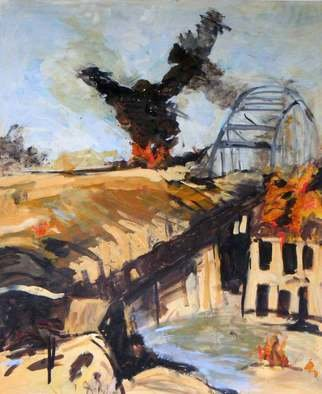B� Van Der Heide; Arnhem, 2011, Original Painting Acrylic, 160 x 190 cm. Artwork description: 241  arnhem, war, fire, smoke, ww2, bridge, war,  ...