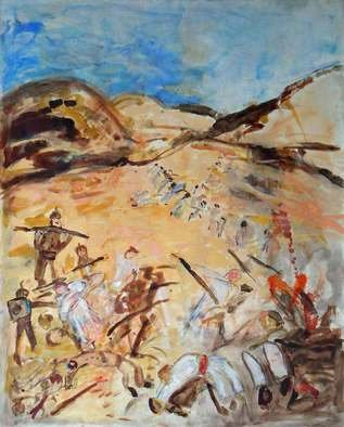 B� Van Der Heide; In The Desert, 2010, Original Painting Acrylic, 160 x 190 cm. Artwork description: 241   desert, war, ww1, soldiers, North Africa,  ...