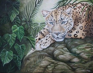 Vanessa Hughes; Jungle Sentinel, 2013, Original Painting Oil, 24 x 30 inches. Artwork description: 241  24 x 30 oil on canvas, varnished and framed in black   ...