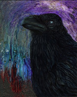 Vanessa Hughes; The Raven, 2010, Original Mixed Media, 8 x 10 inches. Artwork description: 241  Mixing realism with a surreal outlook. I used a mixture of watercolours, acrylic inks, acrylic mediums, and illustration markers on a masonite panel with a wooden support( 3/ 4
