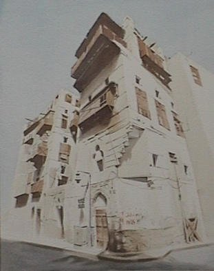 Vani Ghougassian; Old Building In Jeddah, 2002, Original Watercolor, 41 x 51 cm. Artwork description: 241 Origial watercolor painting of a building located at the old town in Jeddah, Saudi Arabia. ...
