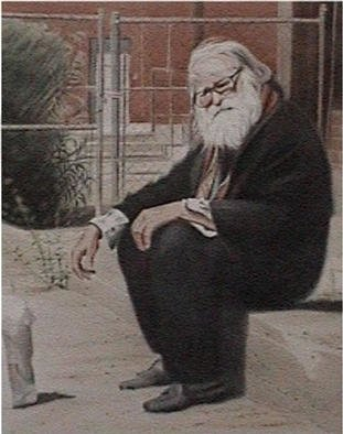 Vani Ghougassian; Wiseman In Old Pueblo, 2002, Original Watercolor, 41 x 51 cm. Artwork description: 241 An old man sitting at a corner in one of the Tucson streets in Arisona, wondering. ...