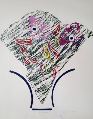Vanilia Majoros; Vase Of Flowers, 2014, Original Printmaking Monoprint, 20 x 20 inches.