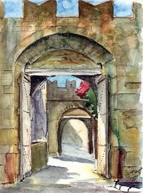 Giovan Beck; OldTown, 1992, Original Watercolor, 24 x 30 cm. Artwork description: 241 The Old Town Of Rhodes, Platanakia Entrance. Watercolour on paper....
