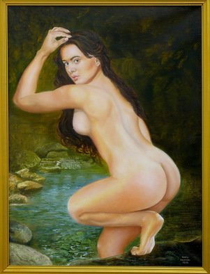 Vasily Zolottsev; The Bather, 2013, Original Painting Oil, 60 x 80 cm. Artwork description: 241   Bather, Woman, river, forest, stones   ...