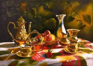 Vasily Zolottsev; The Memories Tea Together, 2010, Original Painting Oil, 70 x 50 cm. Artwork description: 241   There is something to recall to two people, sitting in a shady arbour and drinking tea. . .  ...