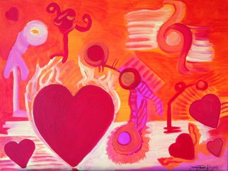 Vanessa Bernal; Love Is In The Air, 2010, Original Mixed Media, 24 x 18 inches. Artwork description: 241  Abstract Expressionism, Expressionist, Abstract, Modern Art, Modern, Fine Artred, yellow, orange, pink, love, mixed media, hearts, fantasy, illustrative, iilustration, wash,            ...
