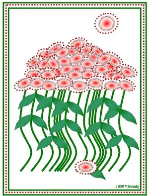 Veronica Brutosky; Halo Flower Bouquet, 2004, Original Printmaking Other, 8 x 10 inches. Artwork description: 241  Whimscal flower bouquet in reds and greens with stitching design around the edges. ...