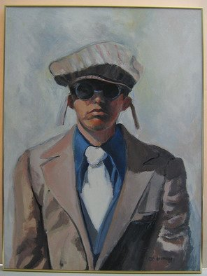 Veronica Brutosky; Michael With Goggles, 2004, Original Painting Acrylic, 30 x 40 inches. Artwork description: 241  Michael turned his jacket inside out because he liked it that way; he wore his goggles and hat proudly; he called himself the Frogman. Even though we cannot see his eyes, his is a penetrating gaze that makes us think about our own
