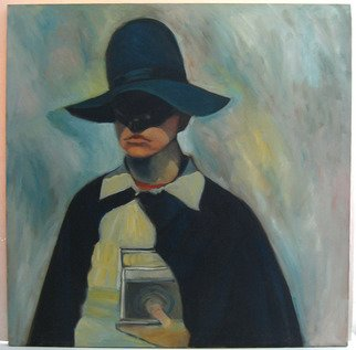 Veronica Brutosky; Michael With Transistor II, 1984, Original Painting Oil, 36 x 36 inches. Artwork description: 241  The exaggerated shapes of the hat and cape attract the viewer.  Michael is wearing mostly black, which along with his mask, sets the tone of the mystery of his inner life.  We often wear masks, too, and this painting may make us think of how we do ...