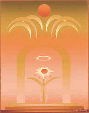 Veronica Brutosky; Save The Flowers, 2004, Original Printmaking Other, 8 x 10 inches. Artwork description: 241 Save the Flowers IV  has an altar- like platform with a sun overhead; metaphor for ur need to save the earth so flowers can survive and we humans can survive in beauty ...