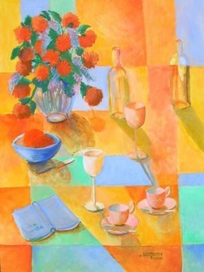 Veronica Brutosky; Still LIfe Yellow, Blue, Green, 2009, Original Painting Acrylic, 30 x 40 inches. Artwork description: 241 The semi- abstract background of wall, table top and cloth are in rich yellows, blues, and greens. The assortment of wine glasses, cups and saucers, fruit bowl, and an open book lying there give the viewer a sense of hospitality and warmth and friendliness.      ...