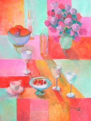 Veronica Brutosky; Still Life, 2009, Original Painting Acrylic, 30 x 40 inches. Artwork description: 241 The semi abstract background of wall, table top and cloth is in rich hot reds, oranges, pinks, and soft greens. An assortment of wine glasses bowls of fruit, and a cup and saucer give the feeling of hominess and comfort and sociability.     ...