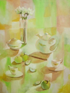 Veronica Brutosky; Tea Time, 1985, Original Painting Oil, 30 x 40 inches. Artwork description: 241 The white teapot and sugar bowl and cups give this still life a lovely ambience along with the fruit and flowers. The patterns of light and shadow are satisfying in the pale greens and warm browns....