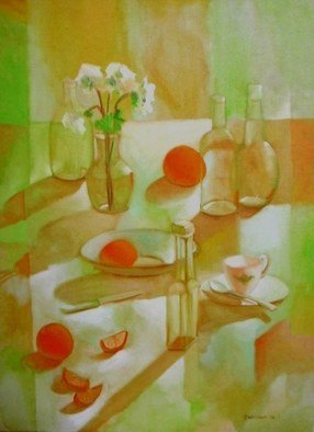 Veronica Brutosky;  Midafternoon I, 1985, Original Painting Oil, 30 x 40 inches. Artwork description: 241 The semi- abstract background, table top and cloth with the light and shadows giving transparency to the wine glasses and the fruit and flowers complete a satisfying still life that has warmth and beauty.    ...