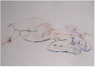 Velemir Pankratov; Lune, 2014, Original Drawing Pastel, 69 x 49 cm. Artwork description: 241 reclining girl...
