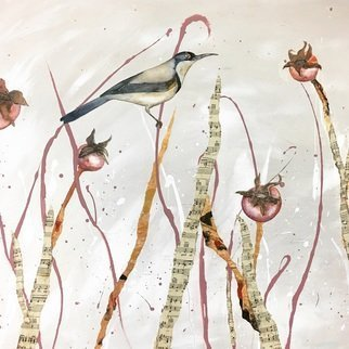 Victoria Velozo; sappling, 2017, Original Painting Oil, 50 x 80 cm. Artwork description: 241  victoria velozo watercolour feature on oil painted background with sheet music collage. 50 x 80cm 2017 6700. RMB 8000. HKD 1000. USD...