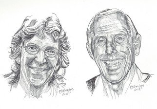 Evelyn O. Bridges; Phil and Sandy, 2012, Original Drawing Pen, 11 x 8 inches. Artwork description: 241           Rough Sketch               ...