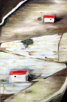 Vesna Komarica; Two houses, 2004, Original Painting Oil, 24 x 36 inches.