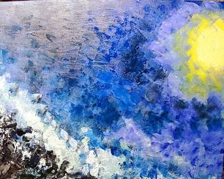Valerie Leri; Moonlit Jetty, 2019, Original Painting Acrylic, 32 x 40 inches. Artwork description: 241 Living on Cape Cod, I love the ocean  This is my rendition of a jetty with the crashing waves upon it at night. I would call it abstract expressionism. ...