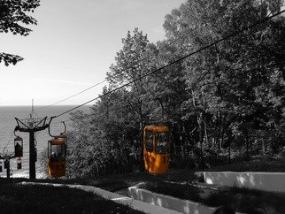 Victoria Zavyalova, yellow cable car, 2016, Original Photography Black and White,    inches
