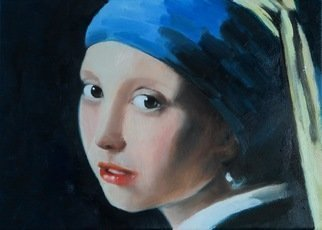 John Tooma; Girl With The Pearl Earring, 2016, Original Painting Oil, 60.8 x 35.3 mm. Artwork description: 241 Dutch masters study of the  Girl with the pearl earring . ...
