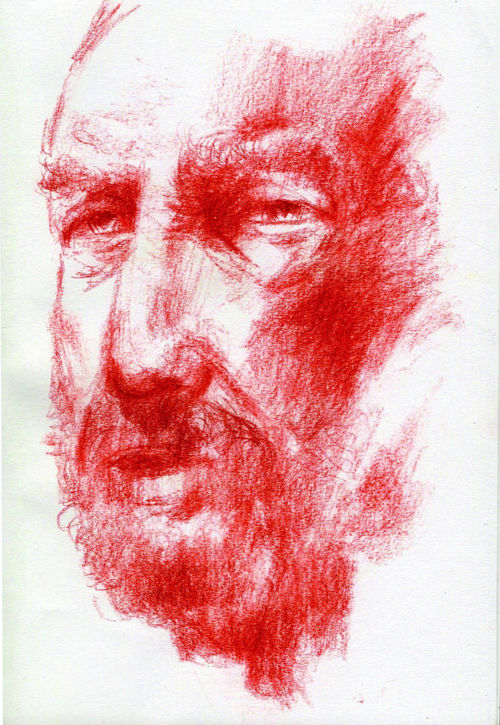 John Tooma; Head Study, 2021, Original Drawing Pastel, 14.8 x 21 cm. Artwork description: 241 study in chalk pastel, Conte pastel on paper...