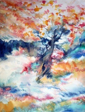 Vagik Iskandaryan, Fire Of Beauty Series 114 w..., 2010, Original Watercolor, size_width{Fire_Of_Beauty_Series_114_wild_Windy_autumn_day-1350422652.jpg} X 22 inches