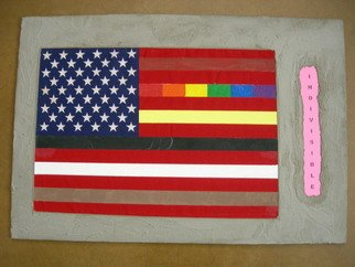 Vitauts Blumitis; Indivisible, 2010, Original Mixed Media, 24 x 16 inches. Artwork description: 241  usa, flag, patriotism, equality, equal rights, country,  ...