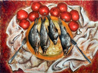 Vladimir Kezerashvili; Fish And Tomatoes, 2012, Original Painting Acrylic, 24 x 18 inches. Artwork description: 241  still life, fish, tomatoes, eggs, lemons         ...