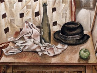 Vladimir Kezerashvili; Stii Life With Hat And Bottle, 2012, Original Pastel Oil, 24 x 18 inches. Artwork description: 241  still life, fish, tomatoes, eggs, lemons, hat, bottle          ...