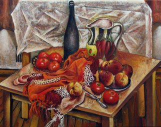 Vladimir Kezerashvili; Still LIfe With Peaches A..., 2012, Original Painting Oil, 33 x 26 inches. Artwork description: 241  still life, peatches, tomatoes      ...