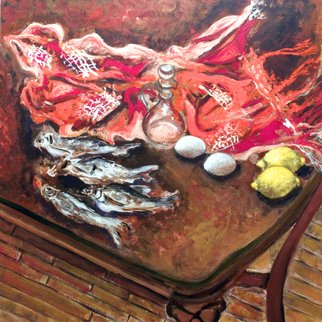 Vladimir Kezerashvili; Still Life With Fish, Egg..., 2012, Original Painting Acrylic, 25 x 25 inches. Artwork description: 241    still life, fish, tomatoes, eggs, lemons        ...