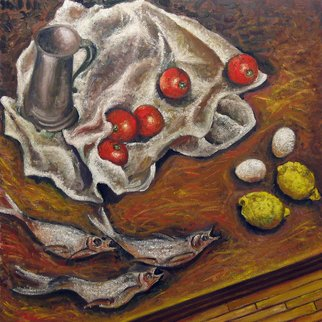 Vladimir Kezerashvili; Still Life With Fish Toma..., 2012, Original Painting Oil, 25 x 25 inches. Artwork description: 241   still life, fish, tomatoes, eggs, lemons       ...