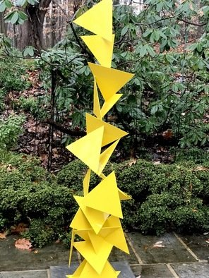 Vadim Kharchenko; trougao, 2017, Original Sculpture Steel, 14 x 68 inches. Artwork description: 241 Sculpture: Metal and Steel on Steel.Beautiful Mid Century Modern Outdoor Indoor Triangle Sculpture named aEURoeTrougaoaEUR- Free Standing Abstract modern powder coated steel sculpture, will complement contemporary, modern, or traditional house Indoor or Outdoor. Will fit great as a garden sculpture, lawn sculpture, driveway or front entrance ...