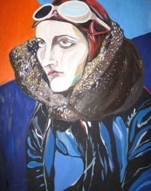 Vladana Vitorovic; Women Pilot, 2004, Original Painting Oil, 50 x 70 cm. Artwork description: 241  One from the woman pilots series ...