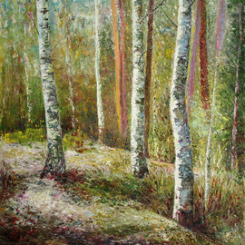 Vladimir Volosov, , , Original Painting Oil, size_width{birches_forest-1542914143.jpg} X 28 inches