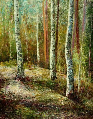 Vladimir Volosov; Birches Forest, 2019, Original Painting Oil, 22 x 28 inches. Artwork description: 241 Original artwork is an unique textured oil painting on  Nanvas stretched on a wooden frame.  Palette knife.  Original Artist Style aEUR