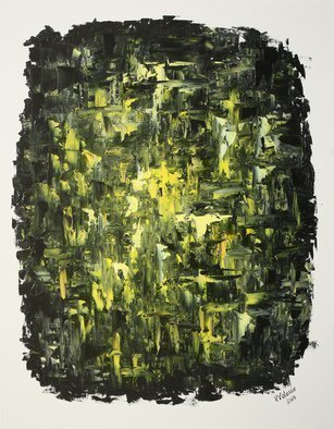 Vladimir Volosov; Black And Yellow, 2019, Original Painting Oil, 24 x 30 inches. Artwork description: 241 Finest quality high grade professional oil paints. Original artwork is an unique textured oil painting on  Nanvas stretched on a wooden frame.  Palette knife. Original Artist Style aEUR