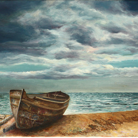 Vladimir Volosov, , , Original Painting Oil, size_width{old_boat_on_the_shore-1527429432.jpg} X 20 inches