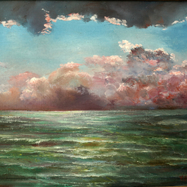Vladimir Volosov, , , Original Painting Oil, size_width{thunderstorm_over_the_see-1497530555.jpg} X 45 cm