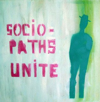 Vladimir Bourrec; Sociopaths Unite, 2007, Original Painting Oil, 40 x 40 cm.