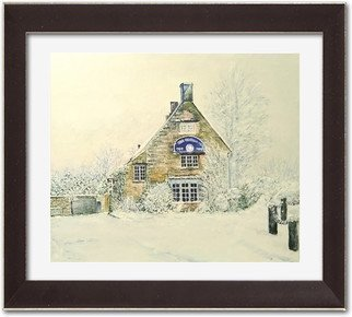 Vlad Lado Doychinov; Pub In Uk, 2018, Original Painting Acrylic, 12 x 10 inches. Artwork description: 241 snow, pub, uk...