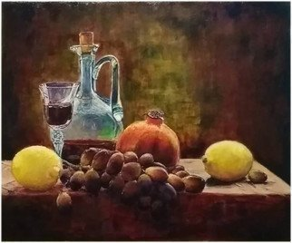 Vlad Lado Doychinov; Still Life, 2018, Original Painting Acrylic, 12 x 10 inches. Artwork description: 241 fruits, dark, light, colors...